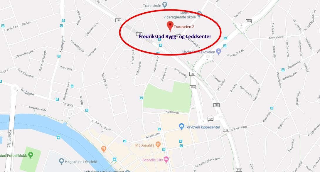 Kart Naprapat Fredrikstad Rygg- og Leddsenter